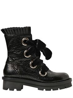 ALEXANDER MCQUEEN - 40MM PATENT LEATHER BOOTS - LUISAVIAROMA - LUXURY SHOPPING WORLDWIDE SHIPPING - FLORENCE