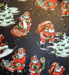 Vintage Christmas Wrapping Paper NOS Busy Santa Merry Christmas Pictures, Vintage Christmas Images, Retro Christmas, Vintage Christmas Wrapping Paper, Christmas Gift Wrapping, Christmas Cards, Disney Collectibles, Santa Claus Is Coming To Town, Vintage Gifts