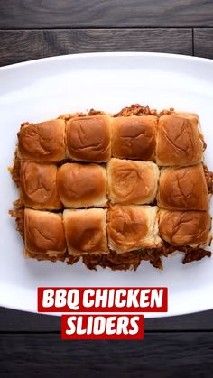 Chicken Sliders, Bbq Chicken, Fun Baking Recipes, Cooking Recipes, Hallowen Food, Slider Recipes, Appetizer Recipes, Appetizers, Football Food