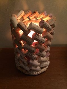 Wine Cork Candle Holder by OuterWorldCraft on Etsy Wine Craft, Wine Cork Crafts, Wine Bottle Crafts, Wine Bottle Corks, Wooden Crafts, Wine Cork Candle, Wine Cork Art, Wine Cork Projects, Diy Craft Projects