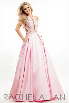 7206 - Mikado ball gown with beaded top and racer cut-out back