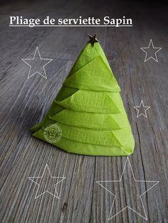 100%Gourmande       .      : Pliage de serviette en forme de sapin de Noël