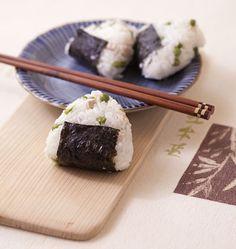 Onigiri au poulet et petits pois - cuisine japonaise - Recettes de cuisine Ôdélices