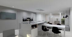 Esta cocina combina el gris visón con el blanco. La encimera es el modelo Dekton Ilumina Solid. Se trata de una fusión de tonos claros.