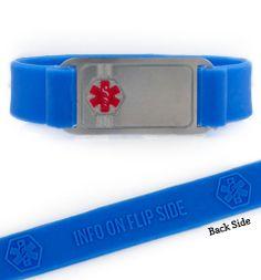 ActiveWear Blue Silicone Medical Alert Bracelet