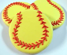 Flour Box Bakery has hand-iced decorated cookie gifts and favors, how-to cookie decorating video tutorials, and professional and affordable decorating supplies. Softball Cookies, Softball Treats, Softball Cupcakes, Softball Sayings, Softball Photos, Softball Stuff, Cut Out Cookies, Cake Cookies, Sugar Cookies