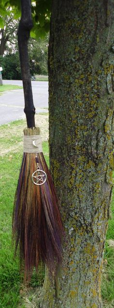Handfasting Besom, Full Size Broom,Artistic Witches Broom, Ceremonial Ritual Besom, Pagan Wedding via Etsy. Its more traditional to make your own though. Wedding Broom, Wiccan Wedding, Witch Broom, Broom Corn, Witch Hats, Maleficarum, Baguette, Wiccan Crafts, Wicked Witch