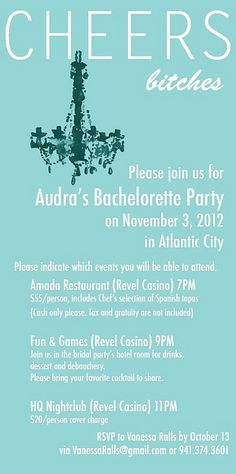 Bachelorette Invitation - mulitple events for a weekend-long bachelorette party (without the bitches part)