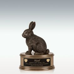 Rabbit Figurine Cremation Urn - Engravable Only God Knows Why, Small Urns, Small Figurines, Memorial Stones, Pet Urns, Cremation Urns, Pet Rabbit, Pet Memorials, Custom Engraving