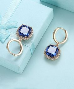 Blue & Gold Halo Drop Earrings With Swarovski® Crystals