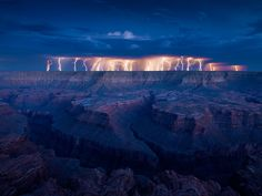 grand lightening fire in the grand canyon
