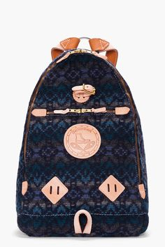 BLUE PATTERNED TRIANGLE BACKPACK by YUKETEN: SHOP