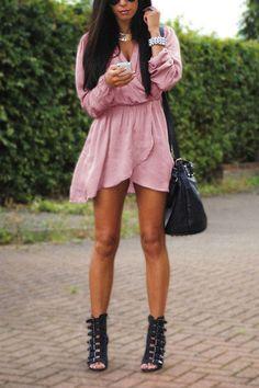 Pink V-neck Elastic Waist Irregular Hem Mini Dress with Long Seeves  -YOINS