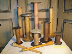 Vintage Wooden Textile Bobbins and Spools
