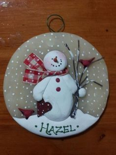 Paper heart ~ hand formed translucent round snowman ornament, personalize free by JessiesCornerClay on Etsy Painted Christmas Ornaments, Polymer Clay Christmas, Snowman Ornaments, Christmas Wood, Christmas Projects, Holiday Ornaments, Christmas Decorations, Snowmen, Dough Ornaments