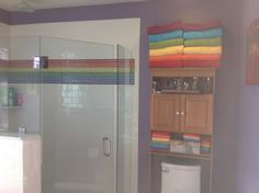 Rainbow tile and towels.