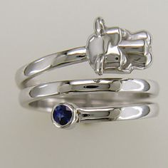 Moyer Jewelers: Penn State Rings - 14KT WHITE GOLD PENN STATE NITTANY LION HEAD SPIRAL RING WITH BLUE SAPPHIRE