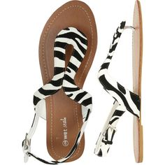 Animal Print Horseshoe Sandal - Teen Clothing by Wet Seal found on Polyvore