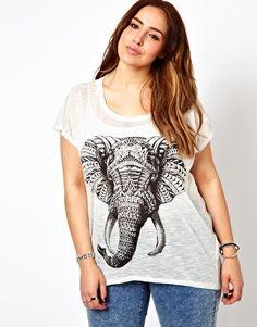 Image 1 ofNew Look Inspire Aztec Elephant Tee