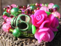 The Original Day of the Dead Wrap Around Bracelet Frida Inspired 3 loops OOAK!!!