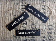 Set of 3 Wedding Chalkboard Signs for Rustic Wedding Decor Chalk Board Labels Blackboard Reusable Small Chalkboards... perfect size