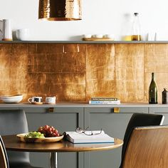 Roll of copper valley flashing makes cheap backsplash for Cheap kitchen splashback ideas