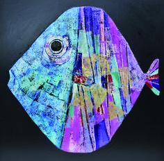 Pesce. Olio su cartapesta tecnica mista. 80 x 80 cm.