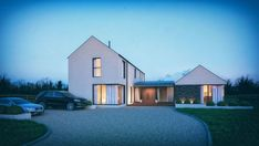 Modern Bungalow House, Bungalow Exterior, Cottage Exterior, Modern Farmhouse Exterior, Modern House Plans, Modern House Design, Dormer House, Dormer Bungalow, House Designs Ireland