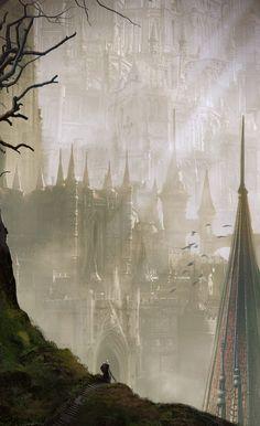 Dark Souls by Emmanuel Humbert Fantasy City, Fantasy Castle, Fantasy Places, Medieval Fantasy, Fantasy World, Dark Fantasy, Dark Artwork, Fantasy Artwork, Fantasy Landscape
