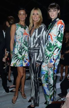 Coco Rocha with Nadege and Heidi Klum today at ROBERTO CAVALLI ss15 milan.