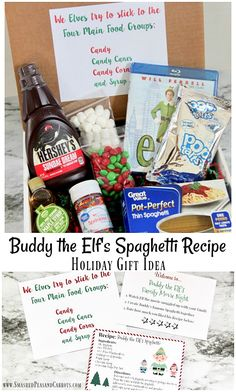 Elf Movie Spaghetti Recipe Gift Idea – Smashed Peas & Carrots This Elf Movie Spaghetti Recipe Gift Idea is just perfect for gifting to friends and family this holiday season. It makes the perfect Family Movie night gift box! Elf Christmas Decorations, Diy Christmas Presents, Merry Christmas, Christmas Gift Baskets, Movie Basket Gift, Movie Night Gift Basket, Date Night Gifts, Theme Baskets, Kids Gift Baskets