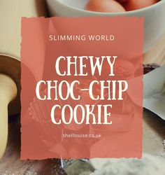 Chewy choc-chip cookies that are only 4 syns each on Slimming World Slimming World Cookies, Slimming World Cake, Slimming World Desserts, Christmas Desserts, Christmas Treats, Christmas Baking, Chocolate Desserts, Chocolate Chip Cookies, Thing 1
