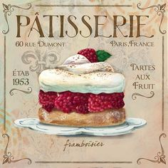 Patisserie I by Fiona Stokes-Gilbert Canvas Art Images Vintage, Vintage Diy, Vintage Labels, Vintage Prints, Vintage Posters, Collages D'images, Vintage Cupcake, Fondant Cupcake Toppers, Decoupage Paper