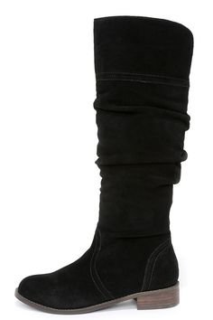 Very Volatile Pirata Black Suede Leather Knee-High Boots at Lulus.com!