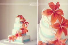 my wedding cake! turquoise and orange lilies  Simply Bloom Photography