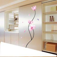 Amazon.com : Pink Flower Stem - Easy Removable Wall Decor Sticker Wall Decal - Pink Flower stem Room decor.