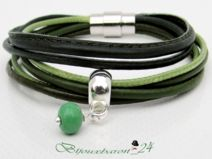 Armband, Leder/Baumwolle, oliv-grün