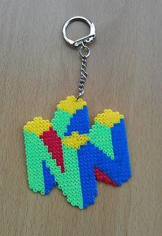 Nintendo N64 Logo Keyring.hama beads by PixelBeadPictures