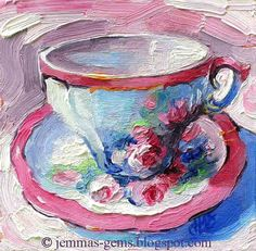Antique Rose Tea Cup  Tea Cup Oil Painting as 8 x 8 by JemmasGems #EtsyRabbits