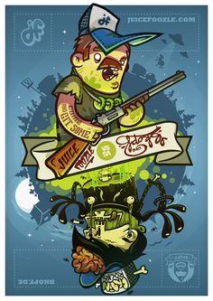 juicefoozle's Hunter VERSUS Bkopf's Zombie  Collabo-Sticker.