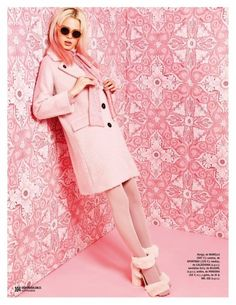 Katty Trost is mad for pastels in Marella jacket and furry platform sandals from Blugirl for Cosmopolitan Spain Magazine September 2016 issue