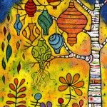 """Lanterns in a Moonlit Garden, 30"""" x 40"""", acrylic on wood, located at Van Gogh's Ear Gallery."""