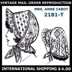 Vintage MAIL ORDER PATCHWORK SUNBONNET BONNET Hats Fabric Sew Pattern Millinery