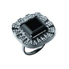 Desire Full Ring in 18K White Gold with Black Rhodium, Black Quartz and Diamonds