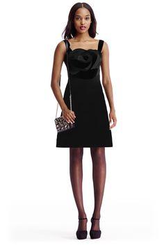 DVF Darling satin and velvet combo A-line dress in Black