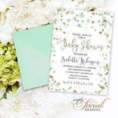 Confetti Baby Shower Invite - Calligraphy Mint and Gold Glitter Gender Neutral Baby Shower Invitation Printable Invite