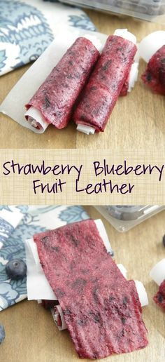 Strawberry Blueberry Fruit Leather - Make your own all-natural fruit roll-ups with fresh strawberries and blueberries with a touch of sweetness! Blueberry Fruit Leather Recipe, Strawberry Fruit Leather, Strawberry Blueberry, Blueberry Recipes, Fruit Recipes, Strawberry Recipes, Dessert Recipes, Fruit Appetizers, Fruit Snacks