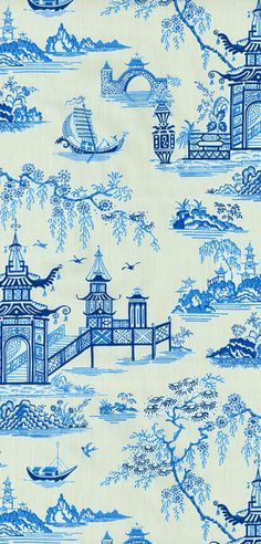 Home Decor Print Fabric- Waverly Peaceful Temple Porcelain at Joann.com
