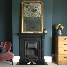 Inchyra Blue - Farrow and Ball Farrow And Ball Living Room, Dark Living Rooms, Paint Colors For Living Room, New Living Room, Room Colors, Living Room Decor, Feature Wall Bedroom, Bedroom Wall, Bedroom Decor