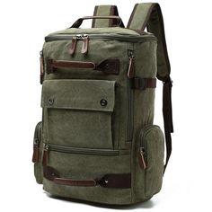 Yousu Canvas Backpack for Men, Man Vintage Travel Duffel Backpacks Large Capacity School Rucksack Daypack (Army Green) Bags Travel, Mens Travel Bag, Travel Backpack, Fashion Backpack, Outdoor Backpacks, Boys Backpacks, School Backpacks, Canvas Backpack, Backpack Bags